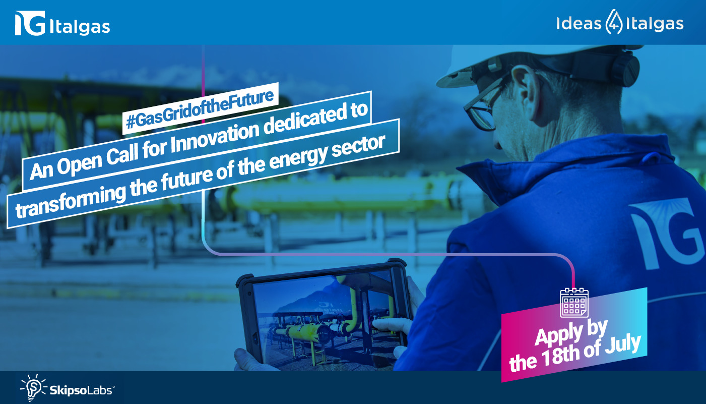 """""""Ideas 4 Italgas – Gas grid of the future"""" Italgas and SkipsoLabs launch a call for the best international startups"""